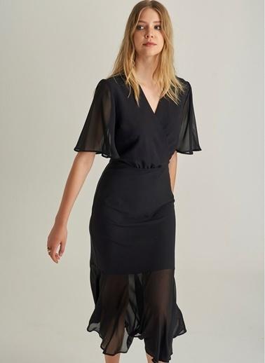 Ng Style Şifon Detaylı Elbise Siyah